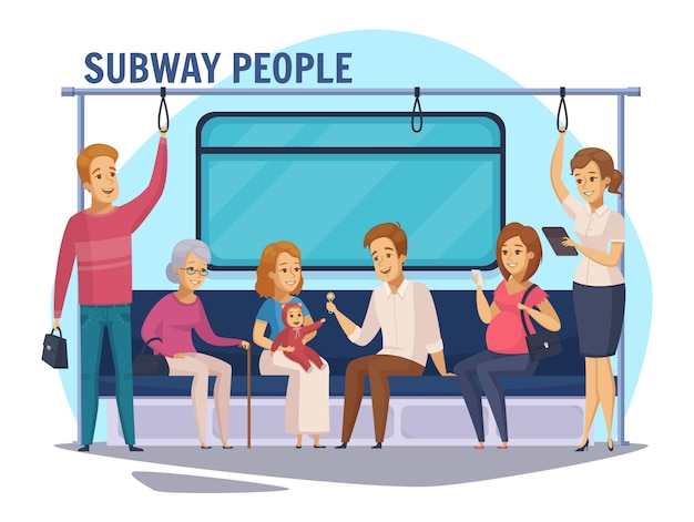 Subway underground people cartoon composition