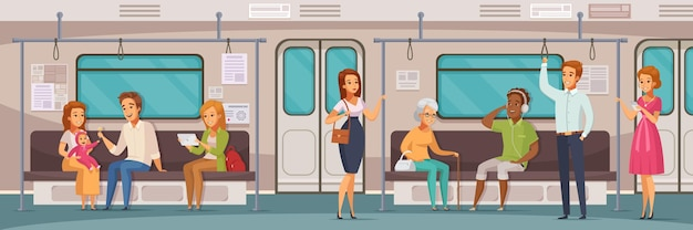Subway underground people cartoon horizontal composition with view of passenger compartment with interior of train car
