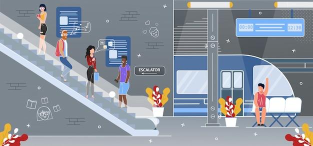 Subway underground station escalator flat