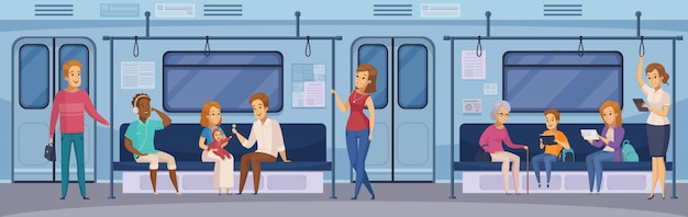 Subway underground train passengers cartoon