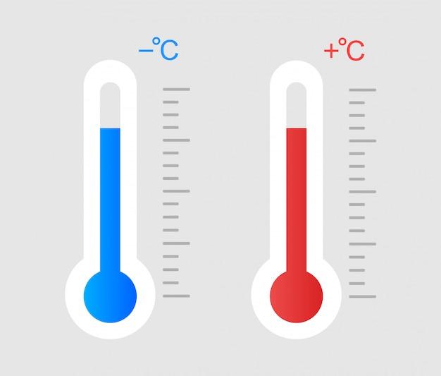 Температура ниже нуля и выше нуля.