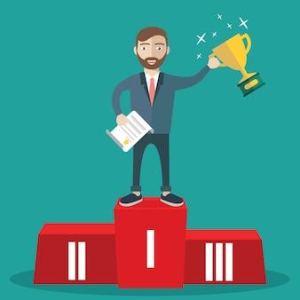 Succesful man on podium