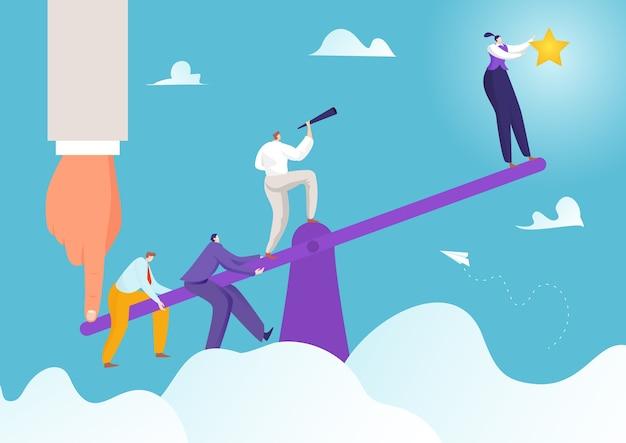 Success business achievement at seesaw concept