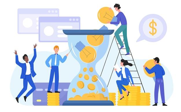 성공 비즈니스 개념 그림입니다. 전구 아이디어를 들고 행복 한 사업가, 사업 개발, 재정 이익을위한 성공적인 금융 솔루션을 만드는