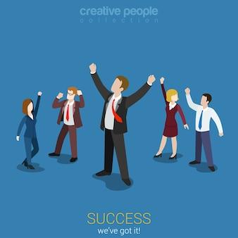 Success in business flat 3d web isometric infographic Premium Vector