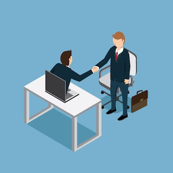 Success business man with hand shake