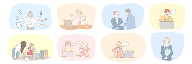 Success business meeting partnership greeting multitasking communication teamwork set concept