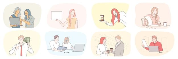 成功ビジネスプランの時間管理、コミュニケーション富のチームワークセットの概念。