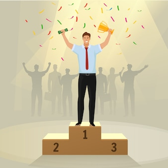 Success businessman character standing in a podium holding up a trophy.