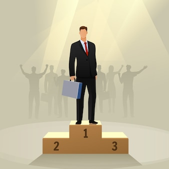 Success businessman character standing in a podium