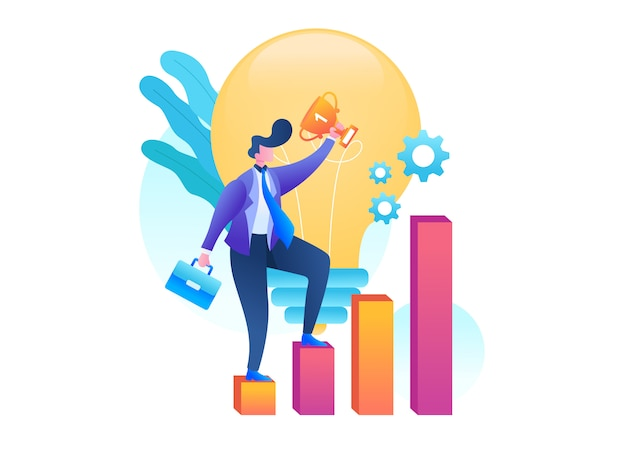 Success businessman illustration