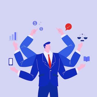 Success businessman worker multitasking