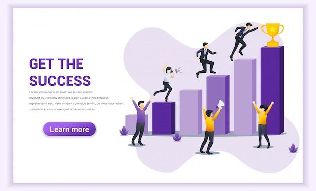 Success concept. businessman run through column by column to win the trophy of their success. achievement, partnership, leadership, successful teamwork. flat vector illustration