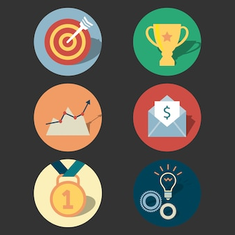 Success concept icons set