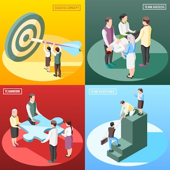 Success concept isometric concept with text and human characters of people and conceptual objects