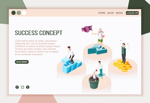 Success concept isometric landing page with read more button editable text and characters of successful people