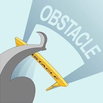 成功のコンセプト:ラインスタイルで障害物を飛び越える