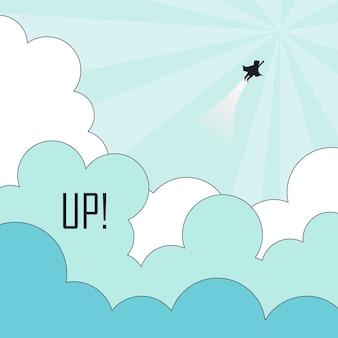성공 개념: 줄을 서서 하늘을 나는 슈퍼히어로