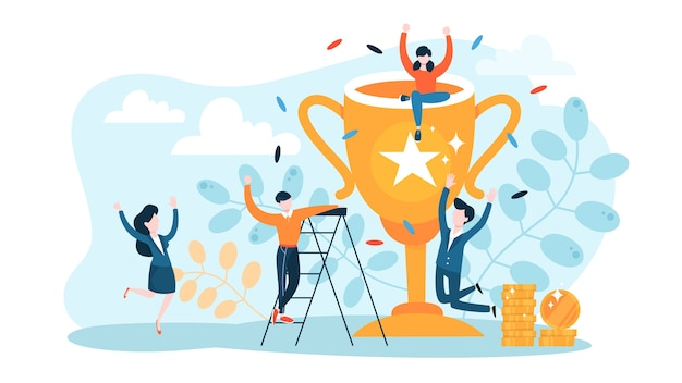 Success concept. winning in competition. getting reward