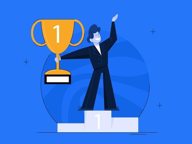 Концепция успеха. победа в соревновании. получение награды или приза