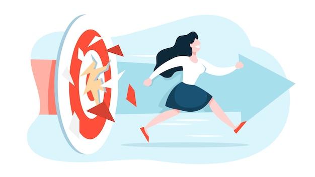 성공 개념. 여자가 목표를 향해 달려가 경쟁에서 승리