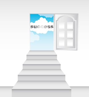 Success conceptual with ladders and door vector illustration