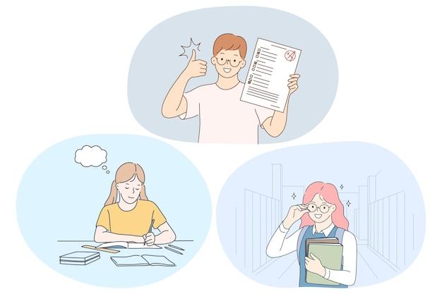공부 성공, 우수한 학교 학생 개념.