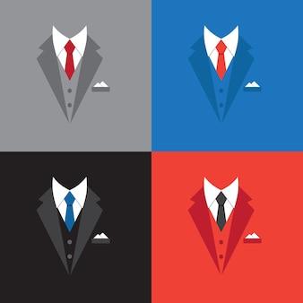サクセスリーダーコンセプトイラスト、フラットデザインのビジネスマンスーツ