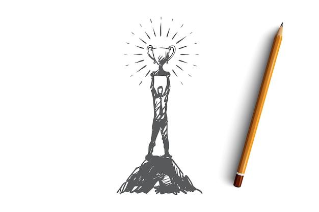 성공, 리더십, 목표, 승리, 승자 개념. 우승자 컵 개념 스케치와 함께 손으로 그려진 된 남자.