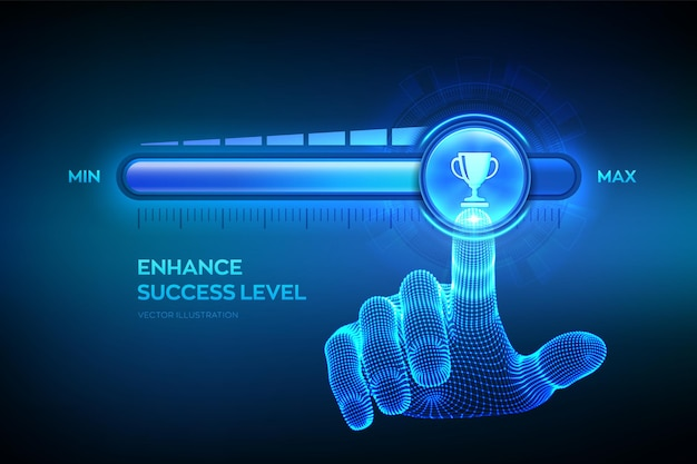 成功レベルの成長。成功レベルの向上。ワイヤーフレームの手が、トロフィーカップのアイコンが付いた最大位置のプログレスバーまで引き上げられています。ビジネス達成の概念。ベクトルイラスト。
