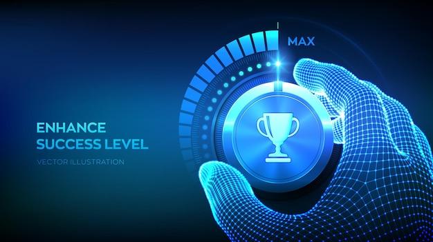 成功レベルのノブボタン。成功レベルの向上。トロフィーカップアイコンの付いたテストノブを最大位置まで手で回すワイヤーフレーム。ビジネス達成の概念。ベクトルイラスト。