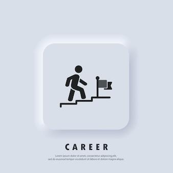 成功のロゴ。キャリアアイコン。旗に向かって2階を歩いているビジネスマン。進捗状況と目標の達成。願望、成長、リーダーシップ。ベクター。 neumorphic uiuxの白いユーザーインターフェイスのwebボタン。