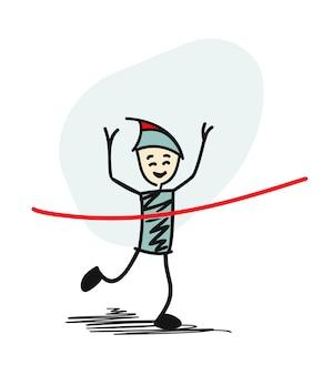 サクセスマンがレースに勝ち、最初に赤いリボンを完成させます。漫画のベクトルの背景。