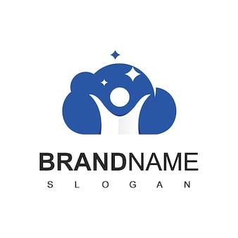 Success people logo, reaching stars people illustration