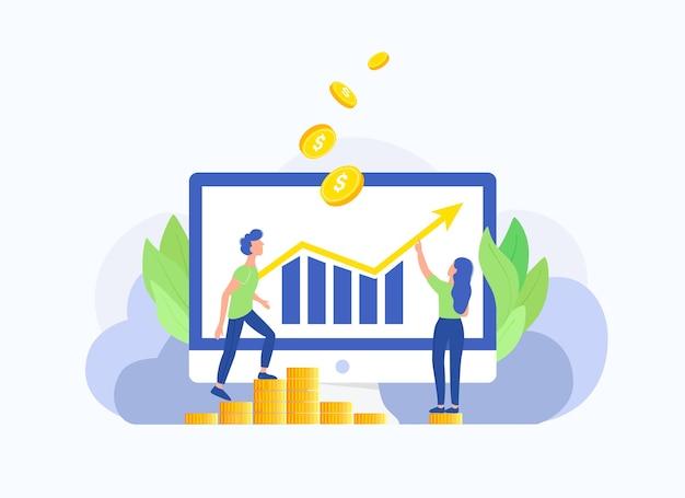 Успех, прибыль, концепция роста инвестиций. бизнесмен на лестнице к деньгам и успеху, компьтер-книжке и диаграмме стрелки вверх. ступенька к успеху. модный плоский стиль.