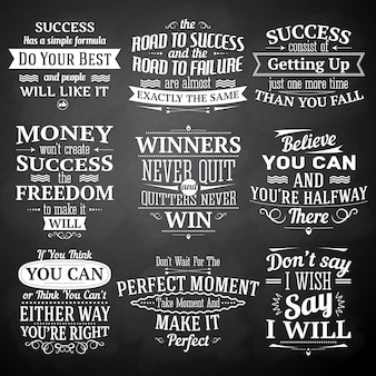 Success quotes lettering chalkboard set