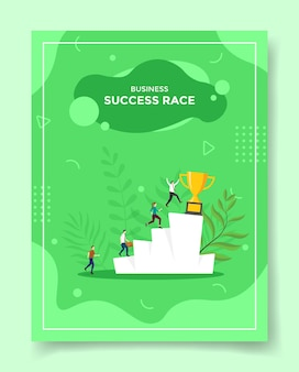 Бизнес-концепция гонки на успех для шаблона флаера