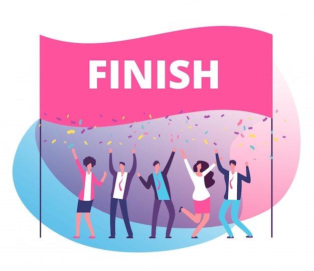 Success reach goal concept. business persons celebrating victory at finish line. compete in business motivation vector poster