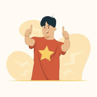 成功のサインは笑顔の幸せな陽気な表現の勝者ジェスチャーの概念を高く評価します