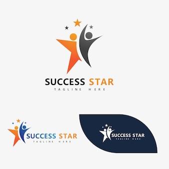 Успех звездные люди логотип векторное изображение