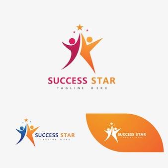 Success star people logo vector image