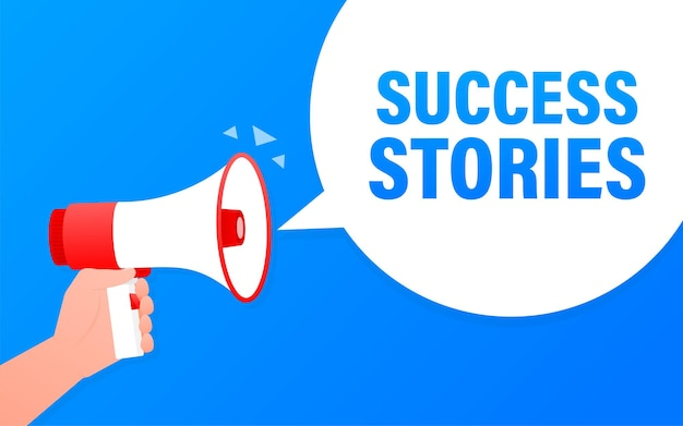 Success stories megaphone blue banner.   illustration.