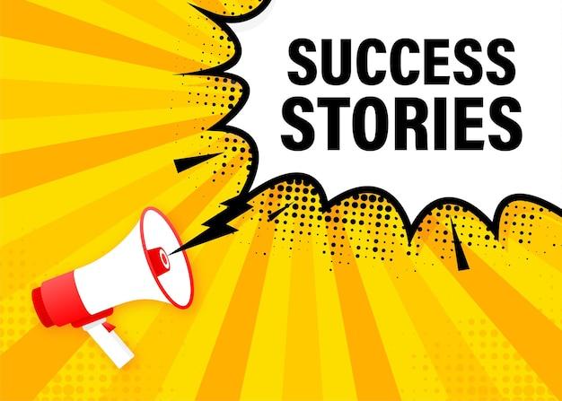 성공 이야기 확성기 노란색 배너입니다. 삽화.