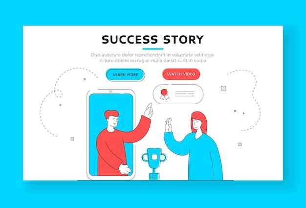 Шаблон баннера истории успеха. современный мужчина вручает женщине награду за лучший комментарий в социальных сетях с экрана смартфона. плоский стиль иллюстрации, дизайн тонкой линии