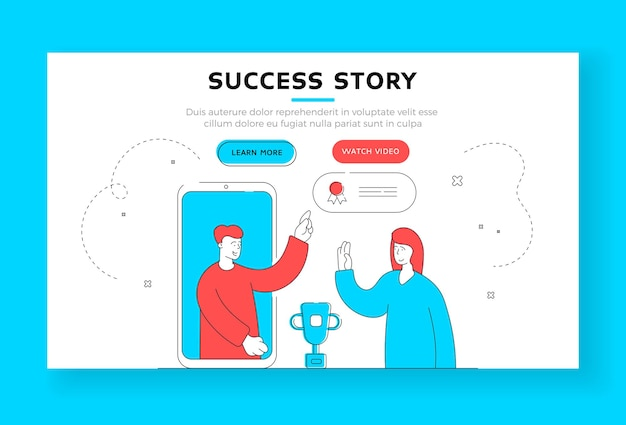 Success story banner template. modern man gives award to woman for best comment in social media from smartphone screen. flat style  illustration, thin line art design