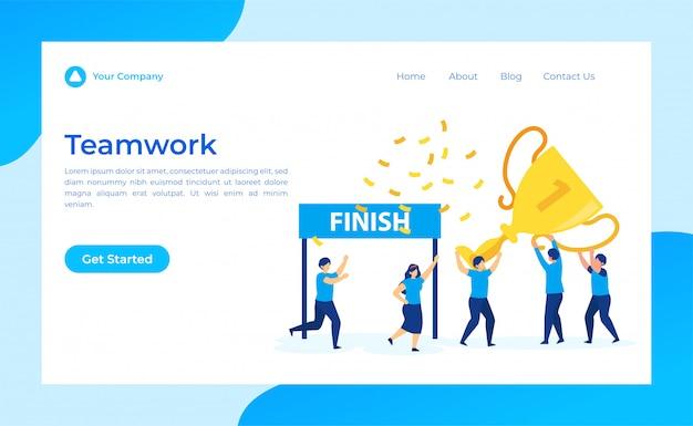 Success teamwork landing page