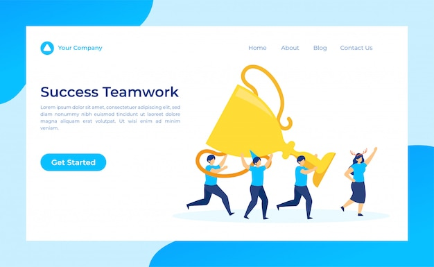 Success teamwork lift up trophy in the finish line landing page