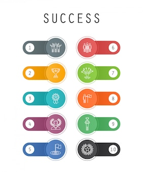 Success trendy ui template with simple line icons