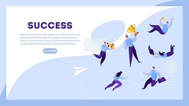 Success web banner concept. winning in competition. getting reward or prize for achievement. goal, inspiration, hard work and result. golden trophy cup and people.    illustration