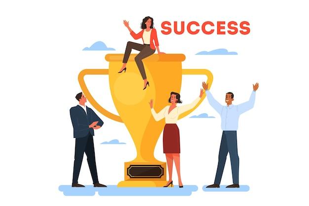 성공 웹 배너 개념입니다. 경쟁에서 승리. 성취에 대한 보상이나 상을받습니다. 목표, 영감, 노력 및 결과. 황금 트로피 컵과 사람들. 삽화